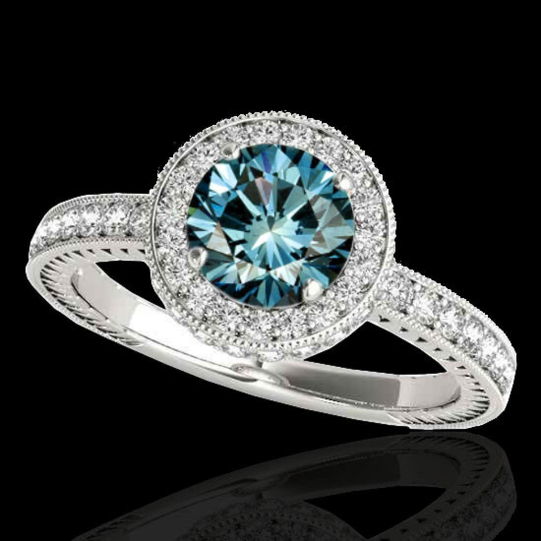 1.51 CTW SI Certified Fancy Blue Diamond Solitaire Halo