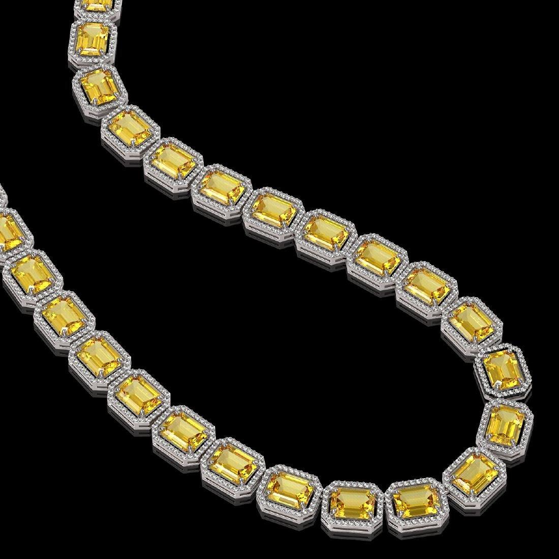 77.35 CTW Fancy Citrine & Diamond Halo Necklace 10K - 2