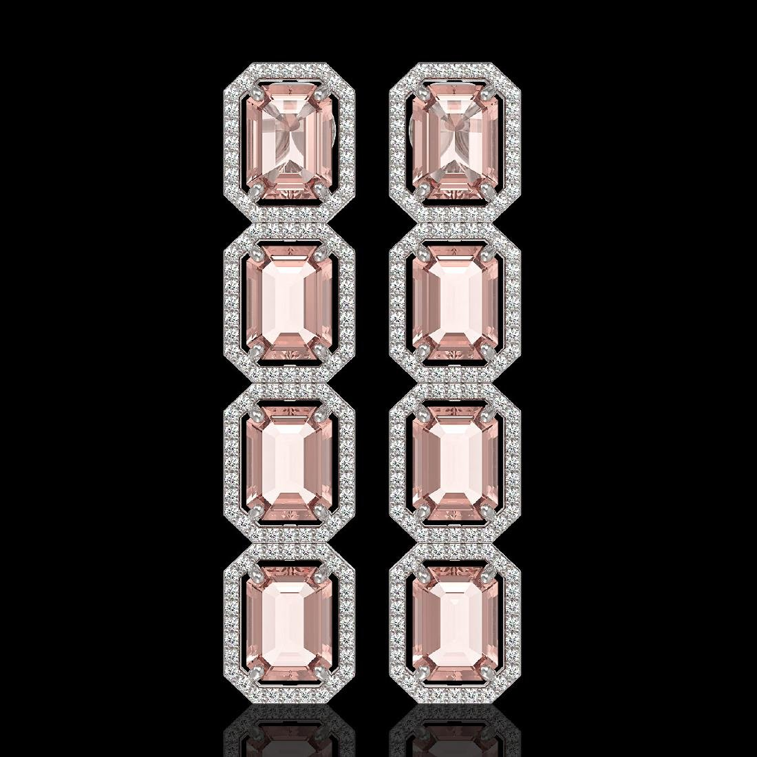 19.81 CTW Morganite & Diamond Halo Earrings 10K White