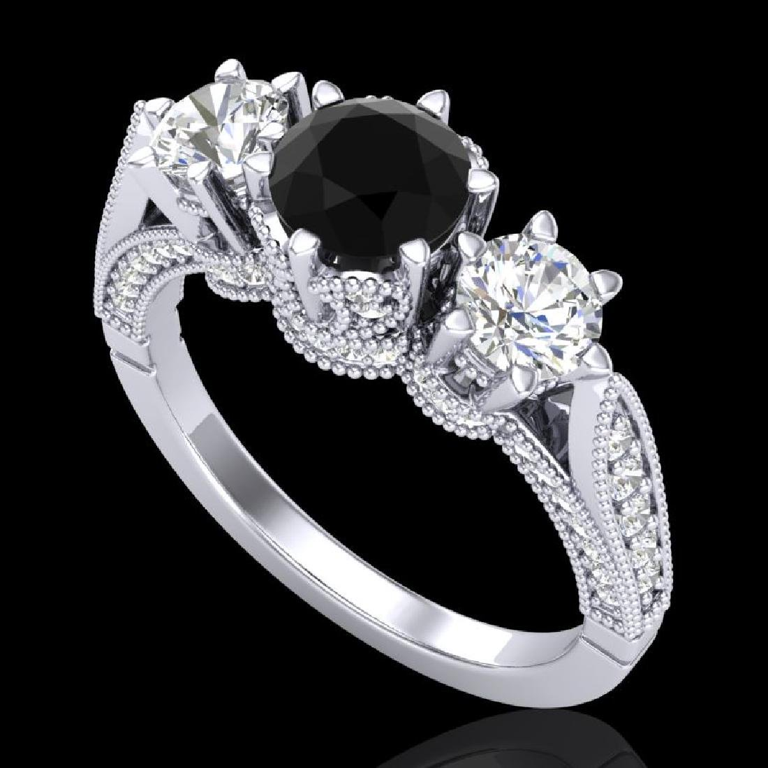 2.18 CTW Fancy Black Diamond Solitaire Art Deco 3 Stone