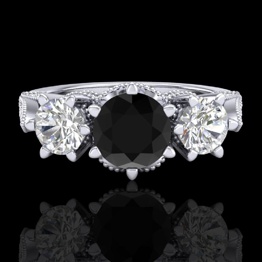 2.18 CTW Fancy Black Diamond Solitaire Art Deco 3 Stone - 2