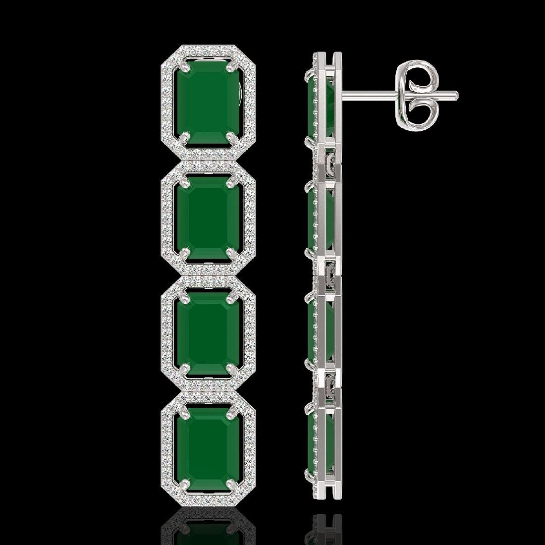 20.59 CTW Emerald & Diamond Halo Earrings 10K White - 2