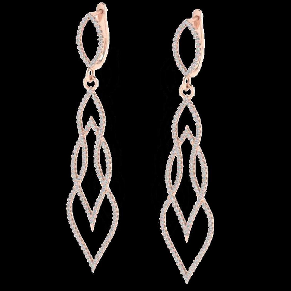 1.90 CTW Micro Pave VS/SI Diamond Earrings 14K Rose