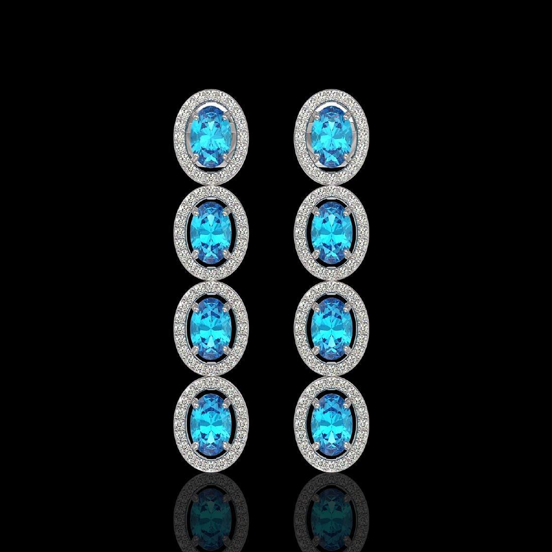 6.28 CTW Swiss Topaz & Diamond Halo Earrings 10K White
