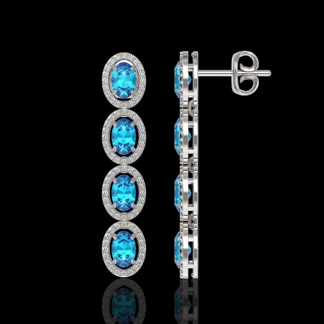 6.28 CTW Swiss Topaz & Diamond Halo Earrings 10K White - 2