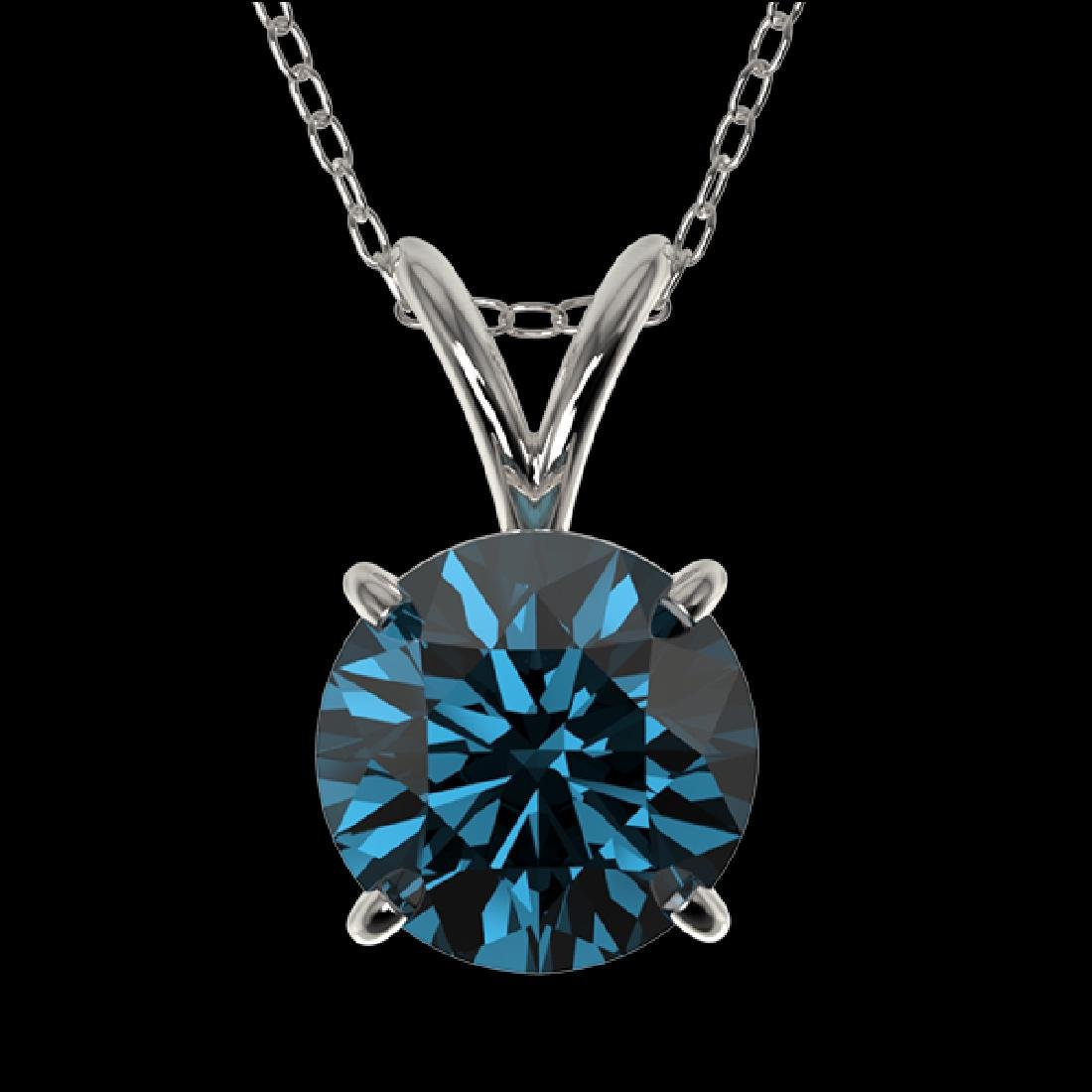 1.29 CTW Certified Intense Blue SI Diamond Solitaire