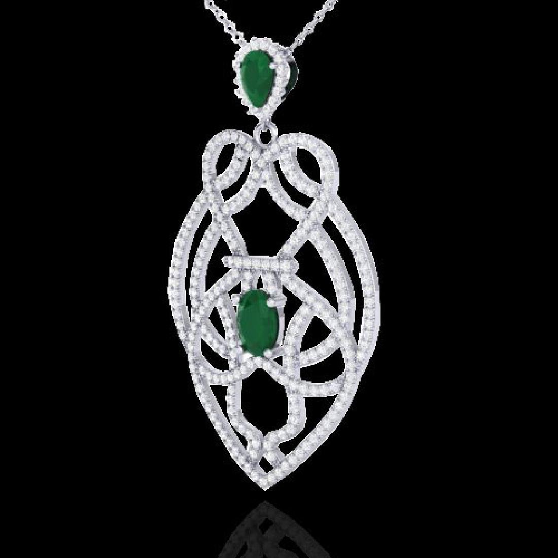 3.50 CTW Emerald & Micro VS/SI Diamond Heart Necklace - 2