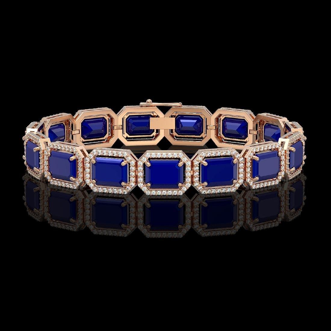 38.61 CTW Sapphire & Diamond Halo Bracelet 10K Rose