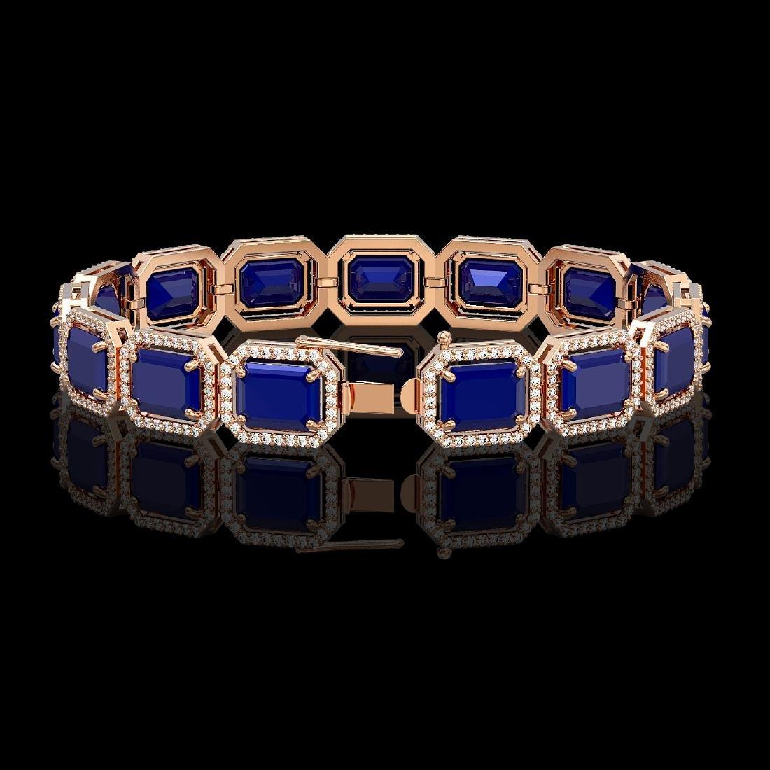 38.61 CTW Sapphire & Diamond Halo Bracelet 10K Rose - 2