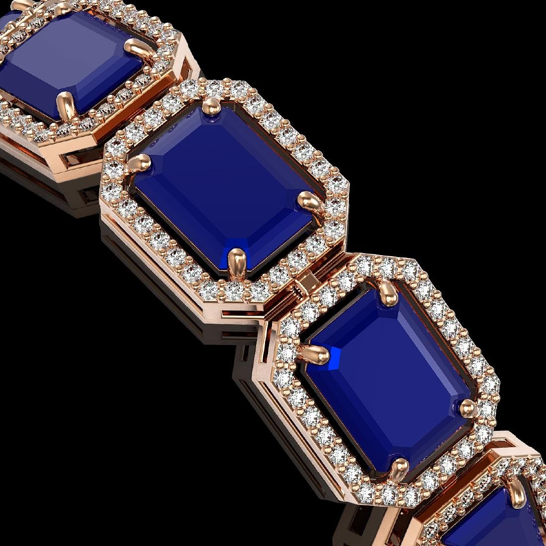 38.61 CTW Sapphire & Diamond Halo Bracelet 10K Rose - 3
