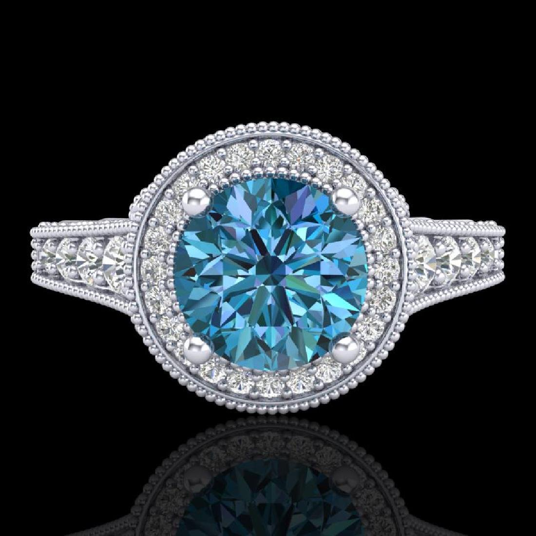 1.91 CTW Fancy Intense Blue Diamond Solitaire Art Deco - 2
