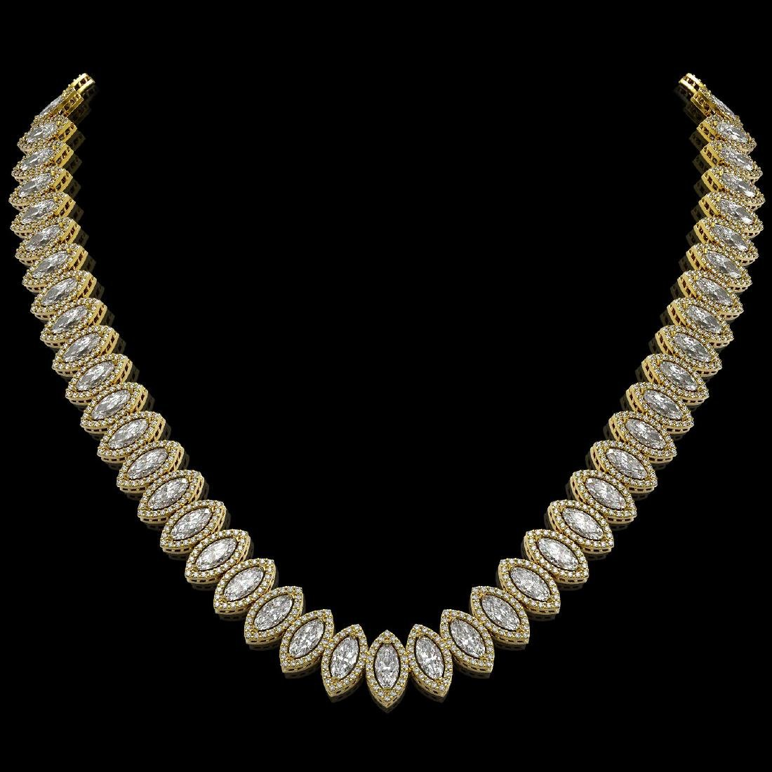 39.68 CTW Marquise Diamond Designer Necklace 18K Yellow