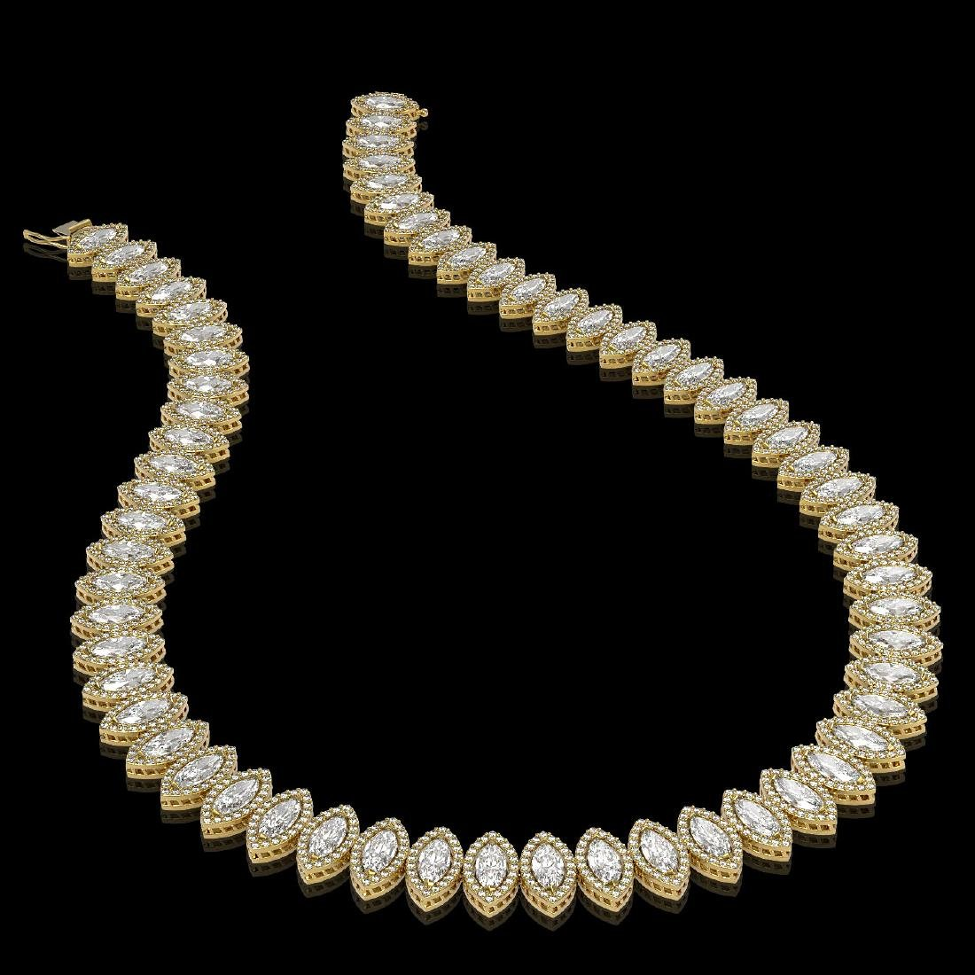 39.68 CTW Marquise Diamond Designer Necklace 18K Yellow - 2
