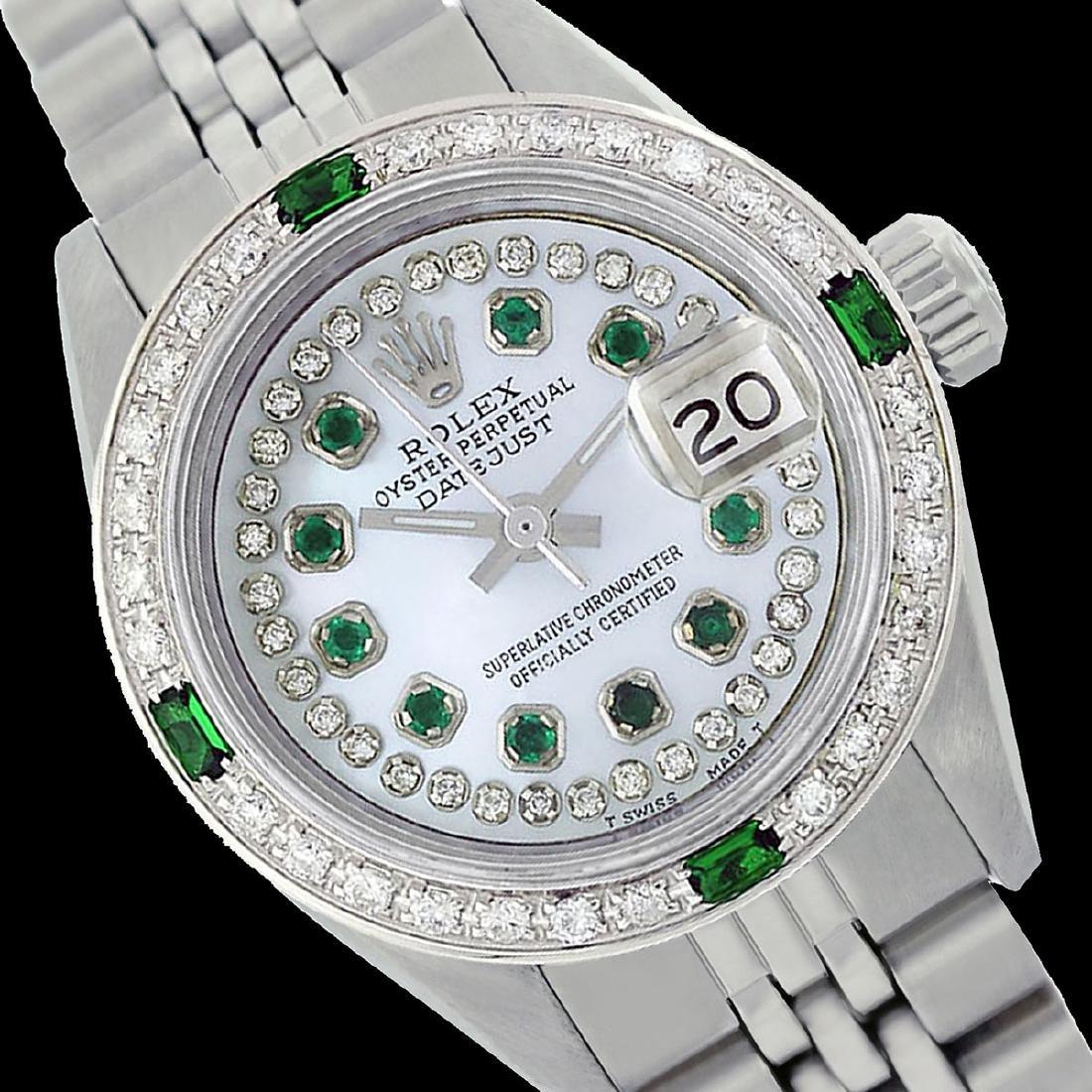 Rolex Ladies Stainless Steel, Diam/Emerald Dial &