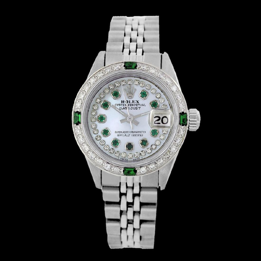 Rolex Ladies Stainless Steel, Diam/Emerald Dial & - 2