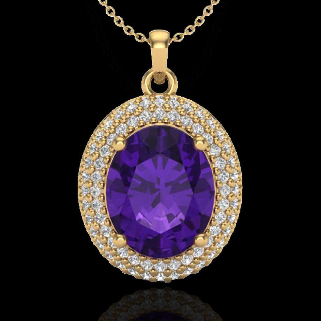 4 CTW Amethyst & Micro Pave VS/SI Diamond Necklace 18K