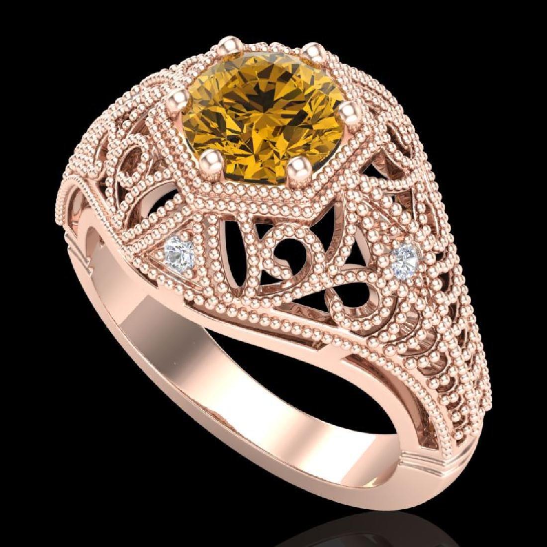 1.07 CTW Intense Fancy Yellow Diamond Engagement Art