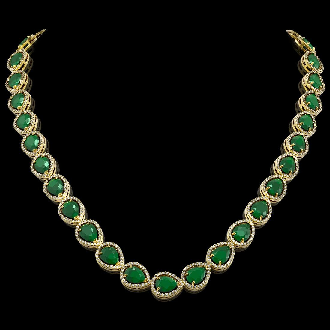 64.01 CTW Emerald & Diamond Halo Necklace 10K Yellow