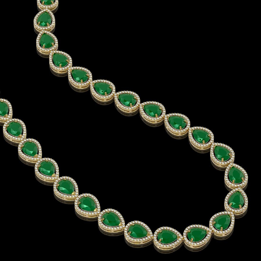 64.01 CTW Emerald & Diamond Halo Necklace 10K Yellow - 2
