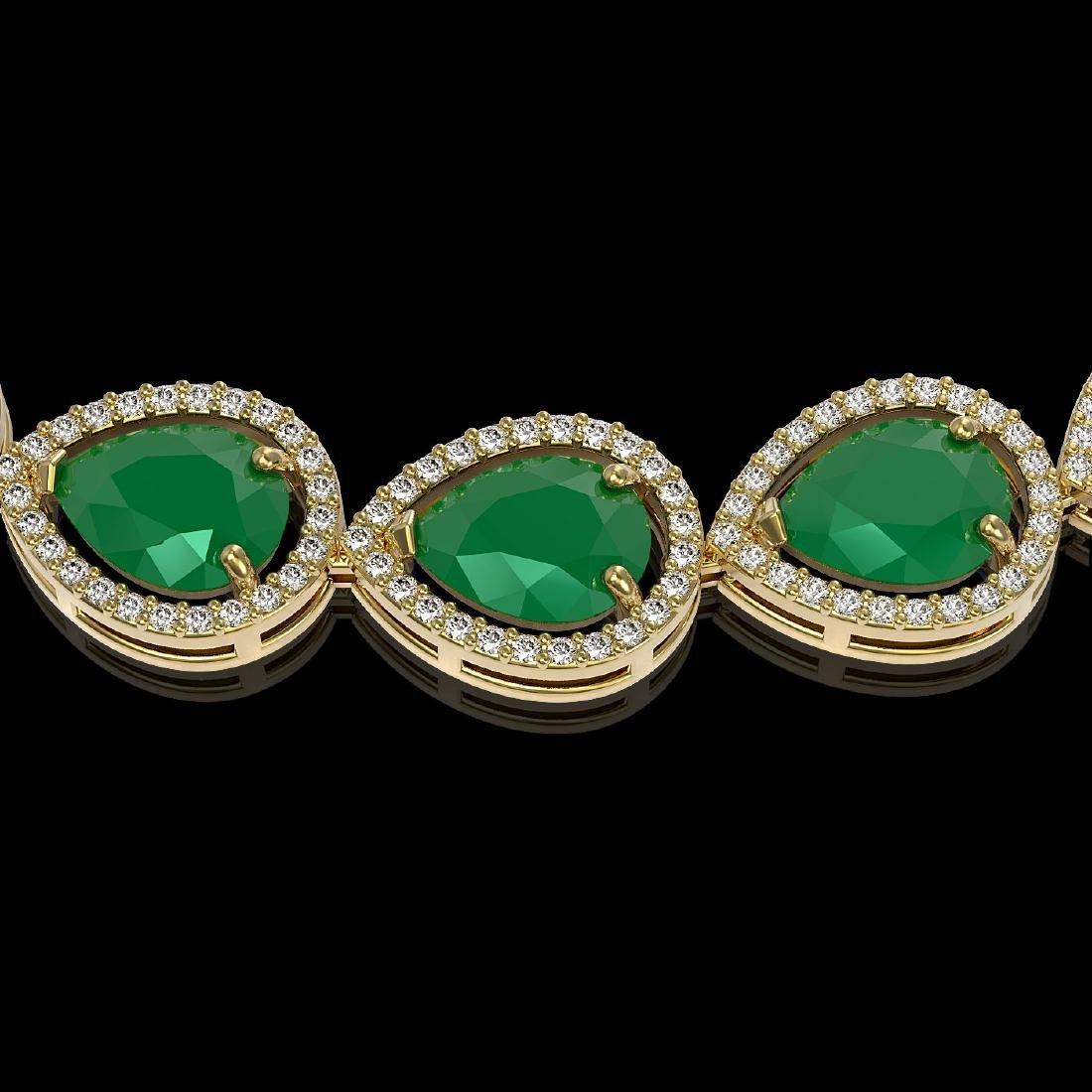 64.01 CTW Emerald & Diamond Halo Necklace 10K Yellow - 3