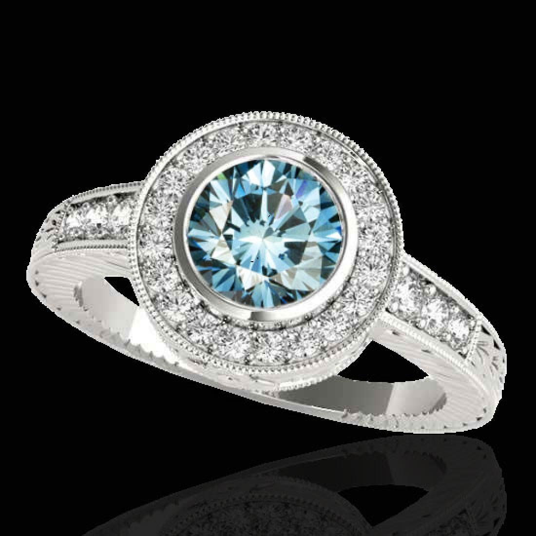 2 CTW SI Certified Blue Diamond Solitaire Halo Ring 10K