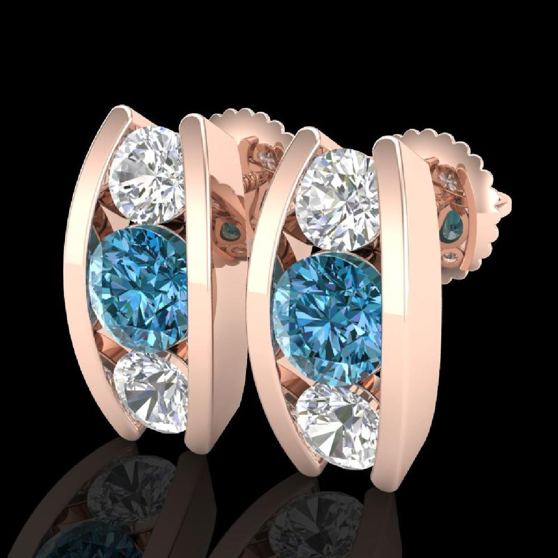 2.18 CTW Fancy Intense Blue Diamond Art Deco Stud
