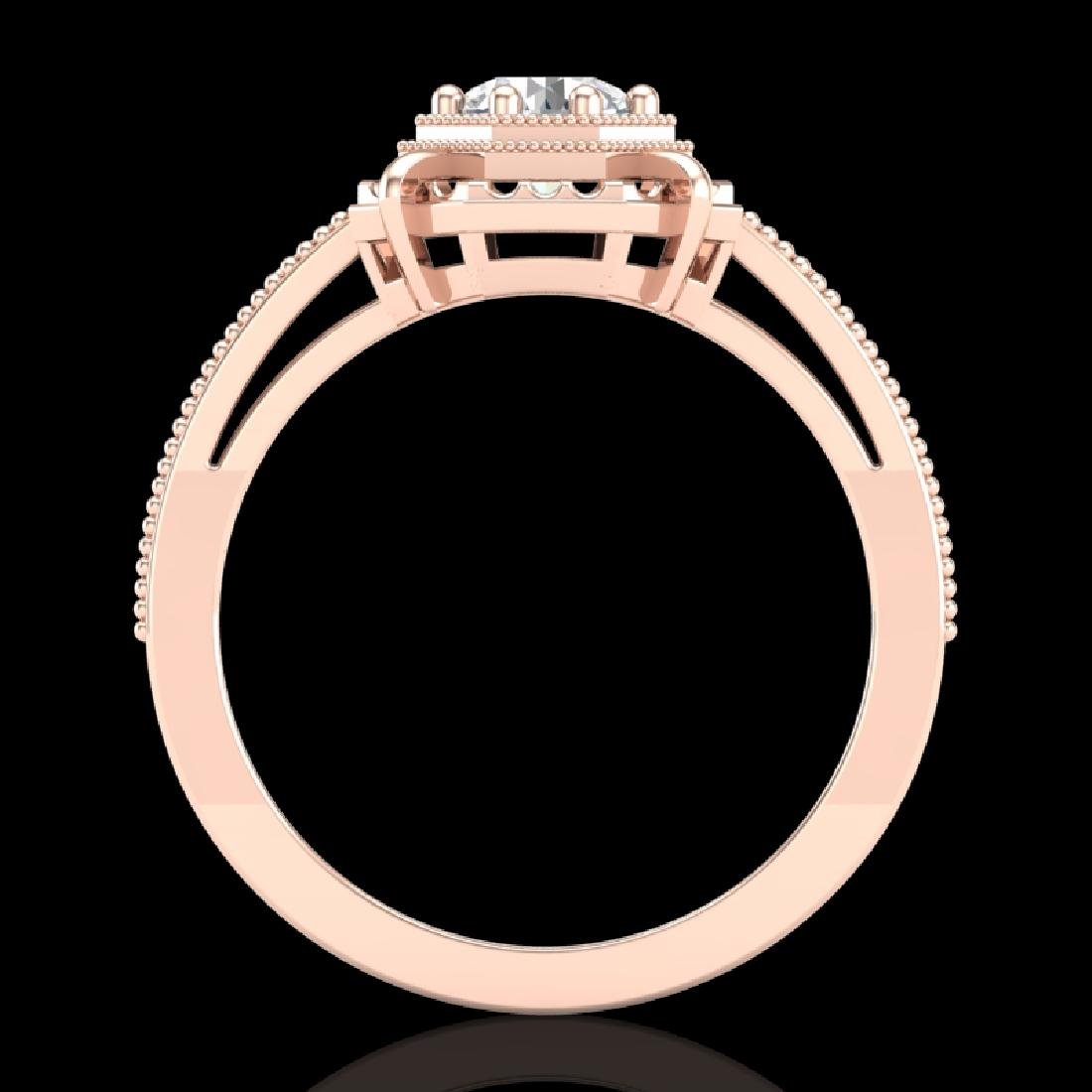0.53 CTW VS/SI Diamond Solitaire Art Deco Ring 18K Rose
