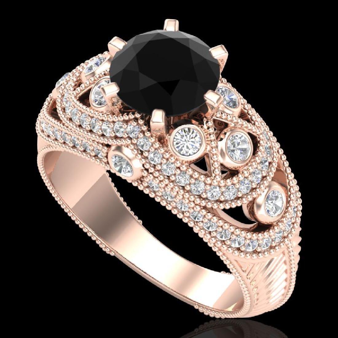 2 CTW Fancy Black Diamond Solitaire Engagement Art Deco