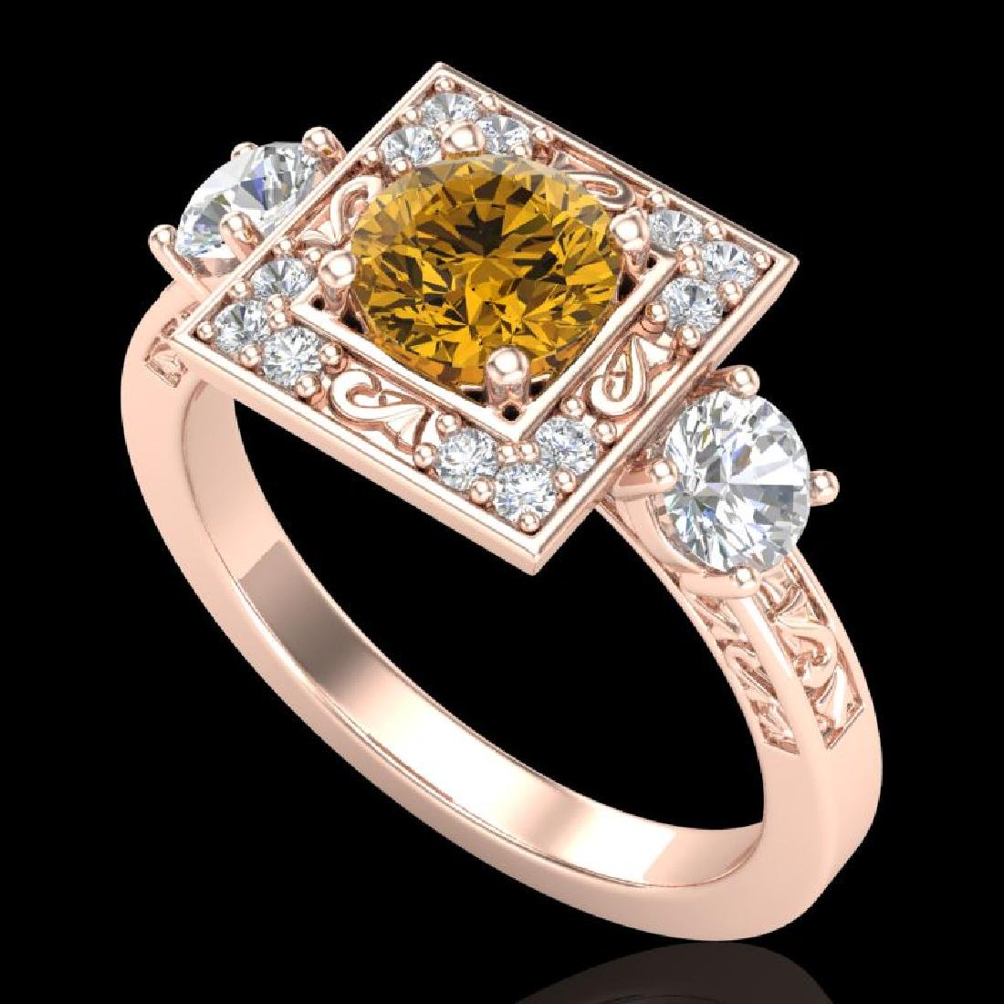 1.55 CTW Intense Fancy Yellow Diamond Art Deco 3 Stone