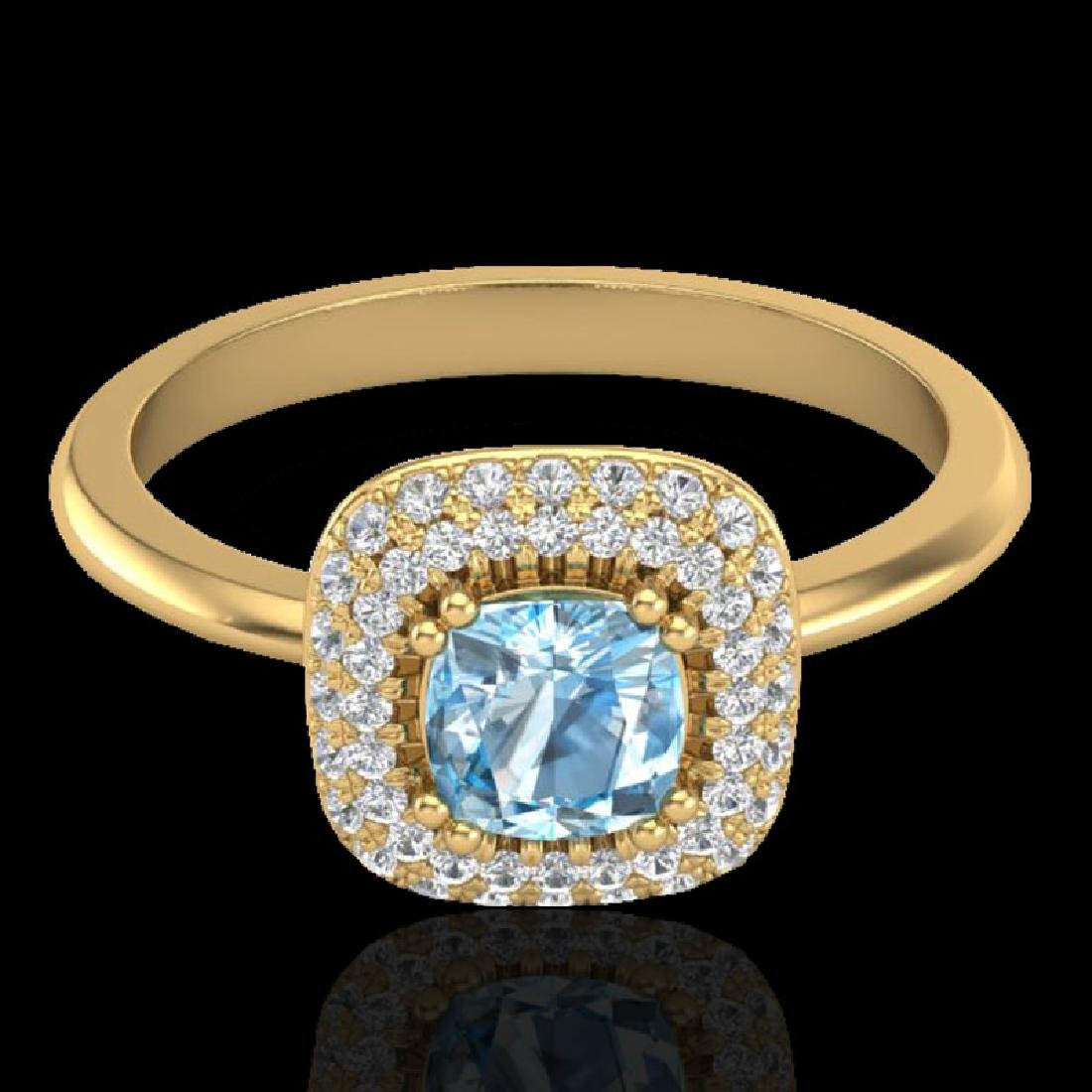 1.16 CTW Sky Blue Topaz & Micro VS/SI Diamond Ring