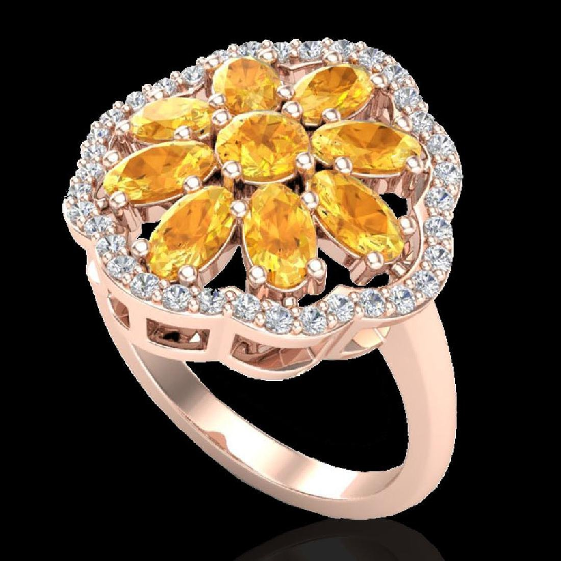 3 CTW Citrine & VS/SI Diamond Cluster Designer Halo