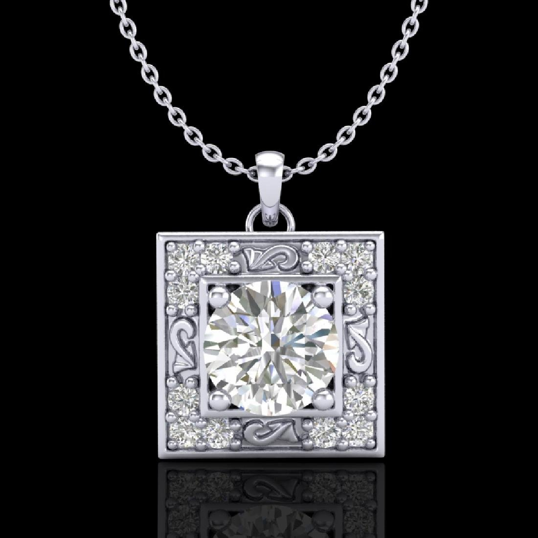1.02 CTW VS/SI Diamond Solitaire Art Deco Necklace 18K