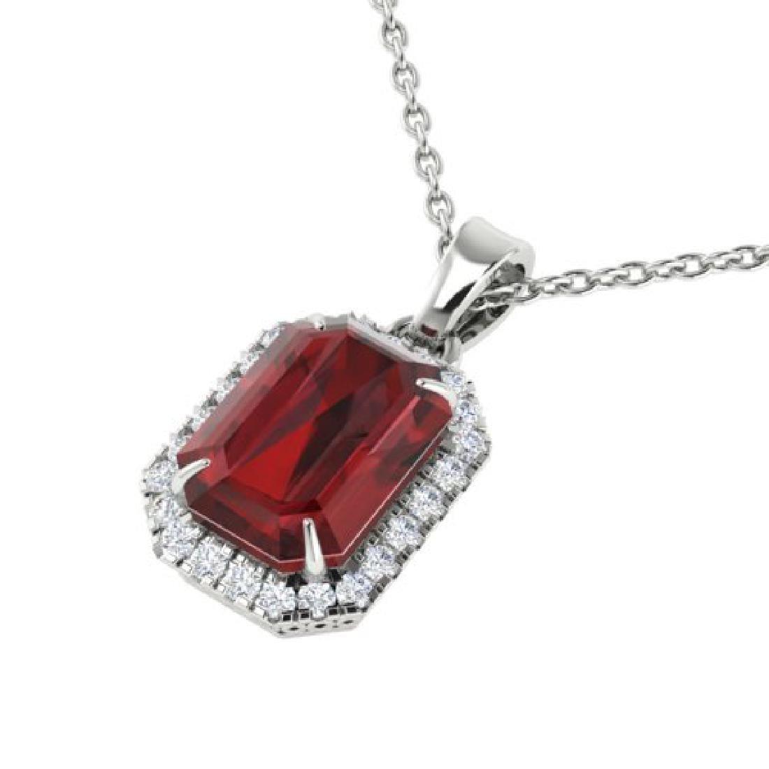 6 CTW Garnet And Micro Pave VS/SI Diamond Halo Necklace