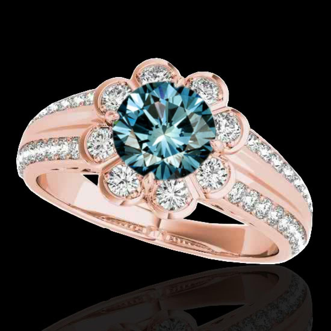 1.5 CTW SI Certified Fancy Blue Diamond Solitaire Halo