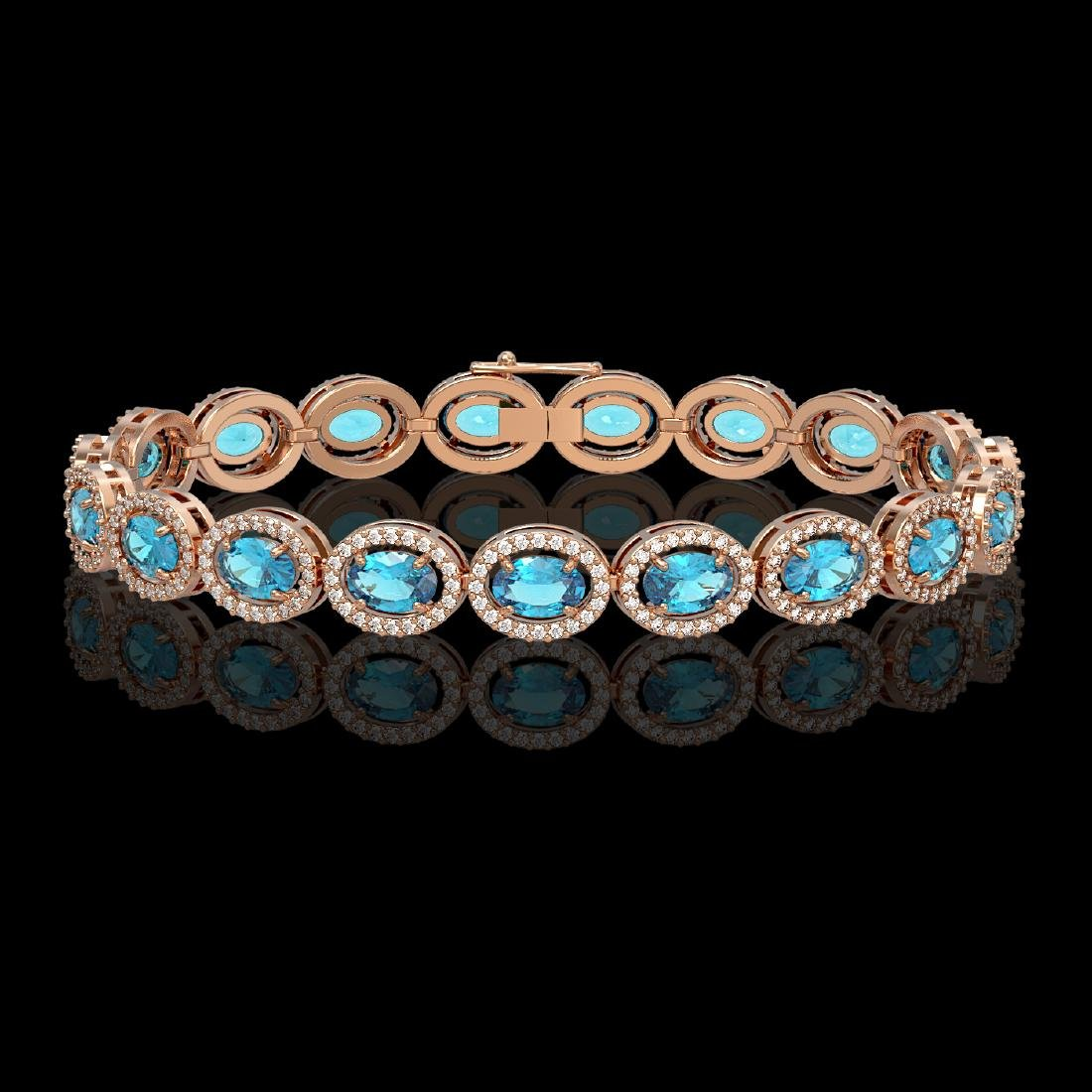14.82 CTW Swiss Topaz & Diamond Halo Bracelet 10K Rose
