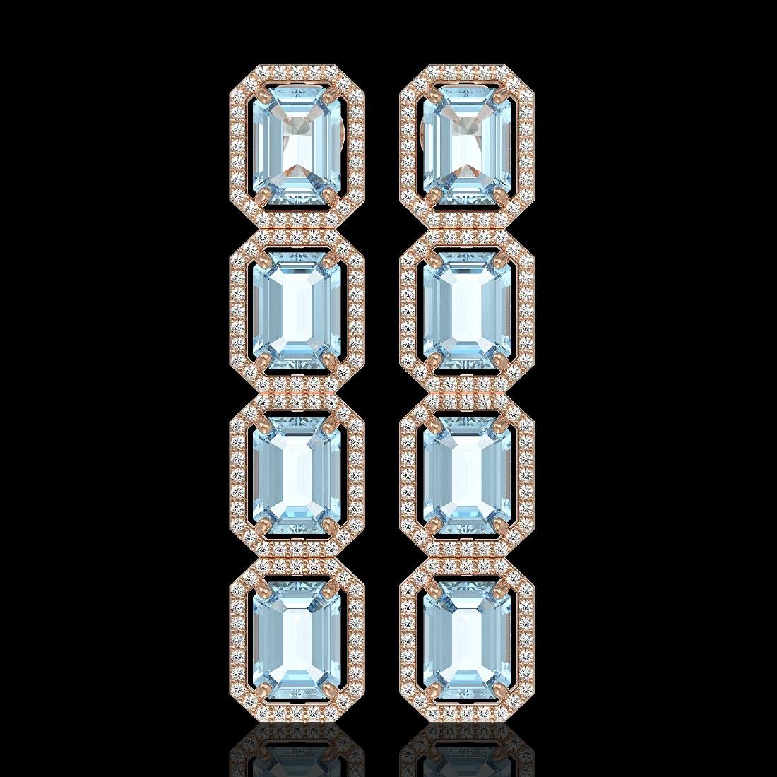 18.99 CTW Sky Topaz & Diamond Halo Earrings 10K Rose