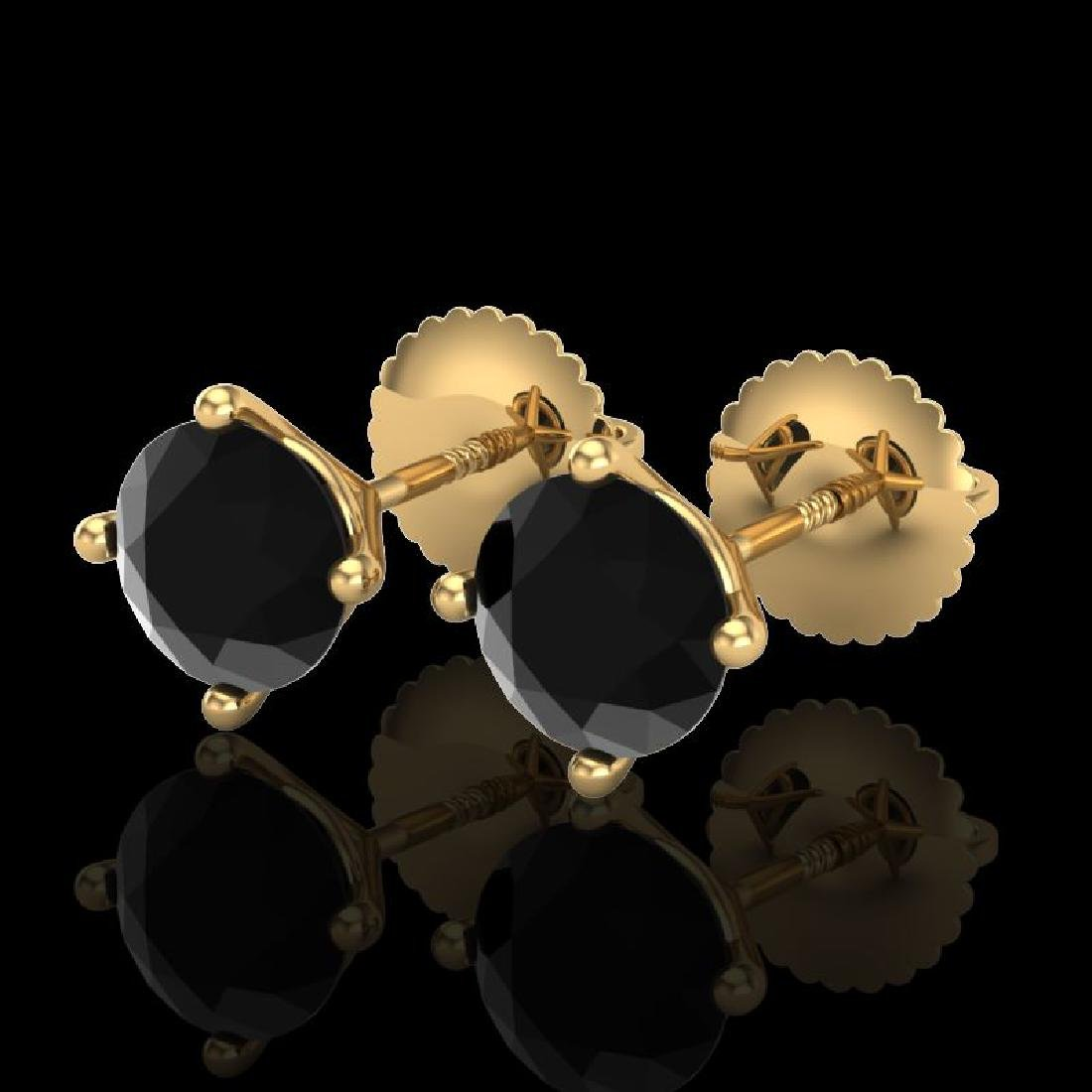 1.5 CTW Fancy Black Diamond Solitaire Art Deco Stud