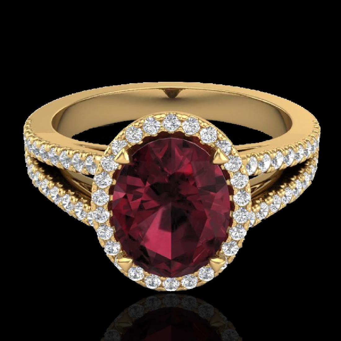 3 CTW Garnet & Micro VS/SI Diamond Halo Solitaire Ring