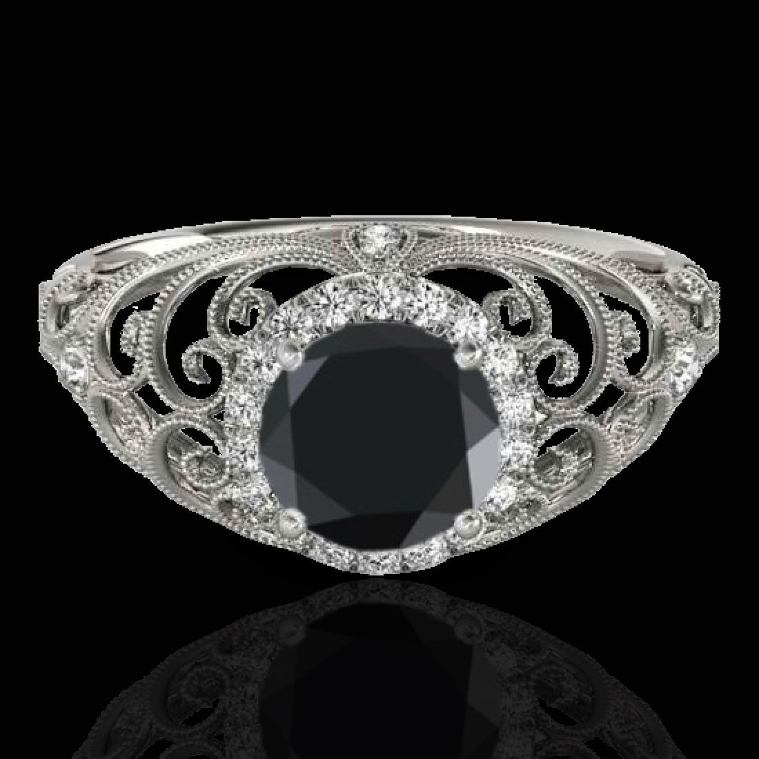 1.22 CTW Certified VS Black Diamond Solitaire Halo Ring