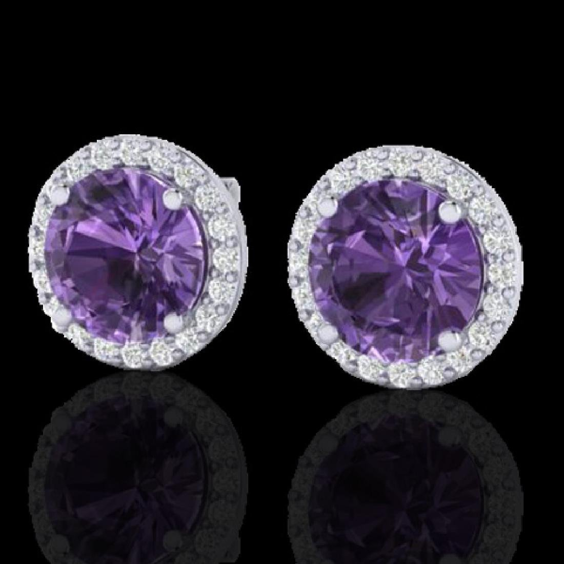 4 CTW Amethyst & Halo VS/SI Diamond Micro Pave Earrings