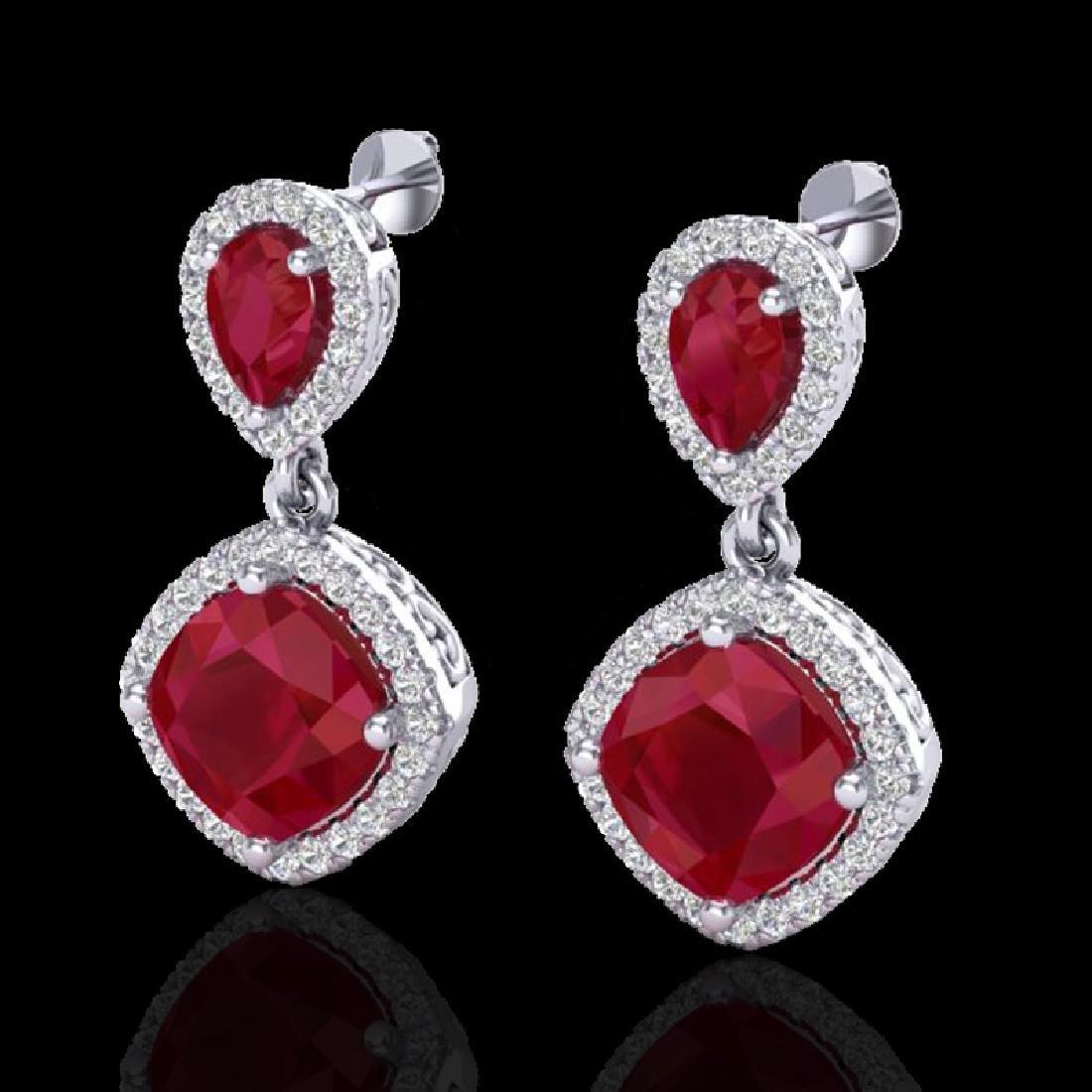 7 CTW Ruby & Micro Pave VS/SI Diamond Earrings Designer