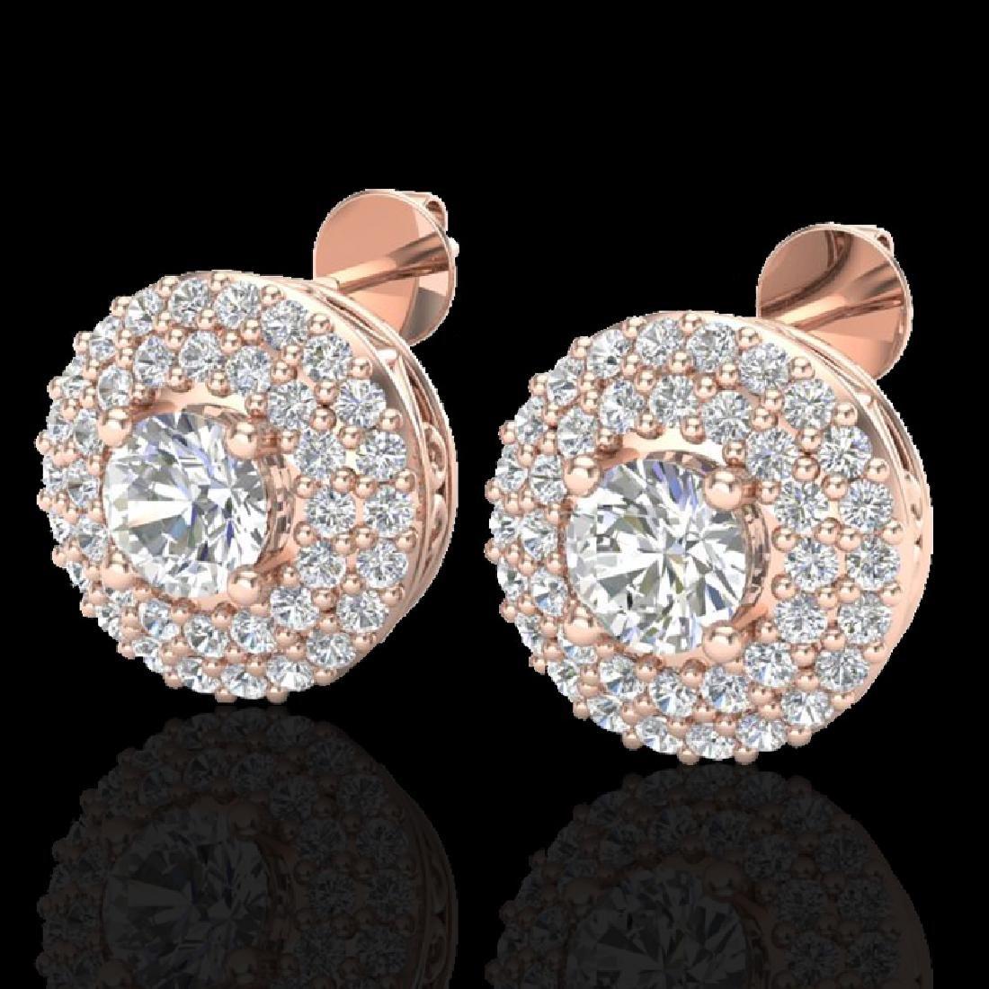 1.20 CTW Micro Pave VS/SI Diamond Earrings 14K Rose