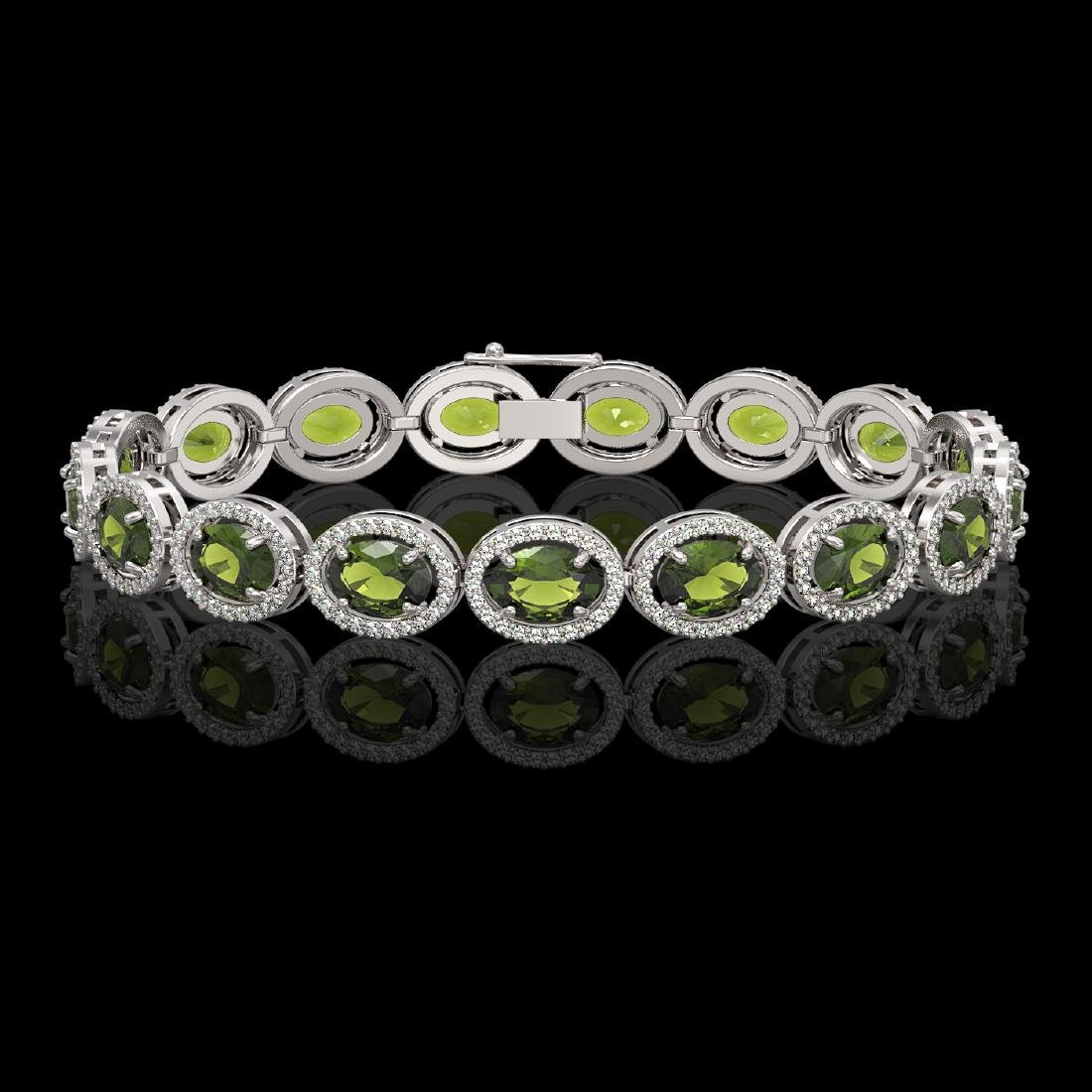 21.71 CTW Tourmaline & Diamond Halo Bracelet 10K White
