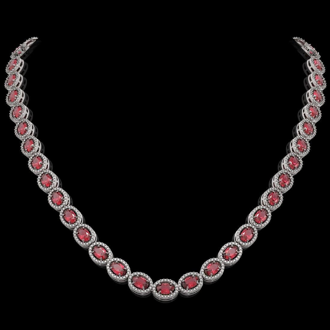 31.1 CTW Tourmaline & Diamond Halo Necklace 10K White