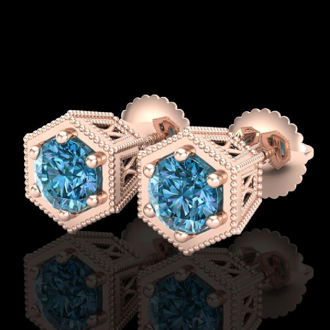 1.15 CTW Fancy Intense Blue Diamond Art Deco Stud