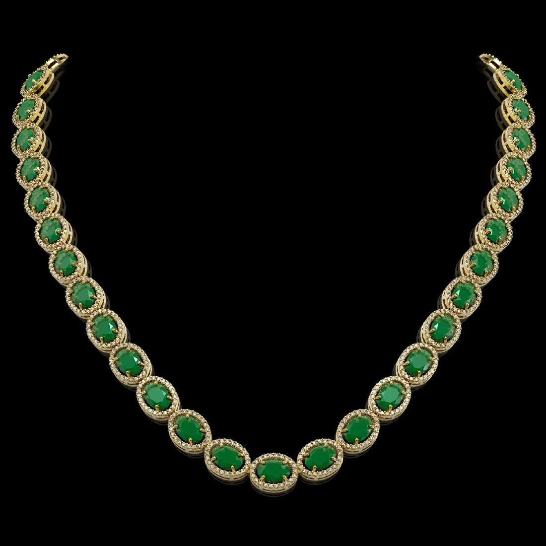 52.15 CTW Emerald & Diamond Halo Necklace 10K Yellow
