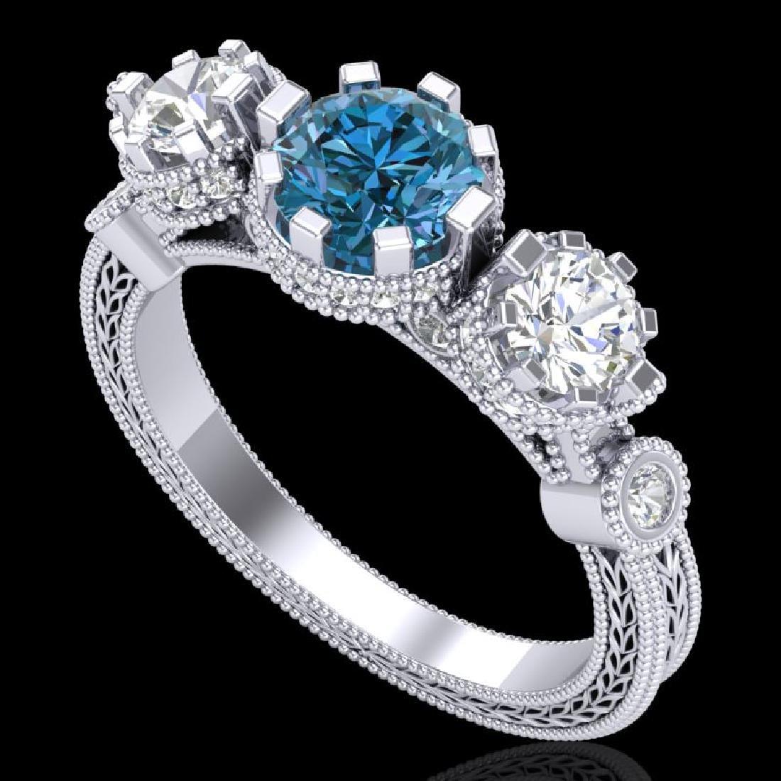 1.75 CTW Intense Blue Diamond Solitaire Art Deco 3
