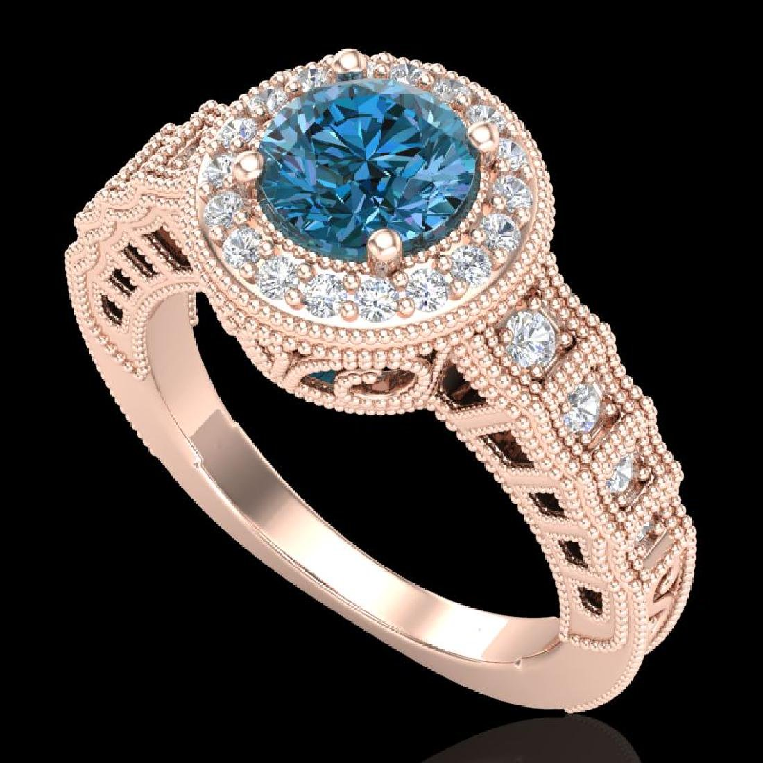 1.53 CTW Fancy Intense Blue Diamond Solitaire Art Deco