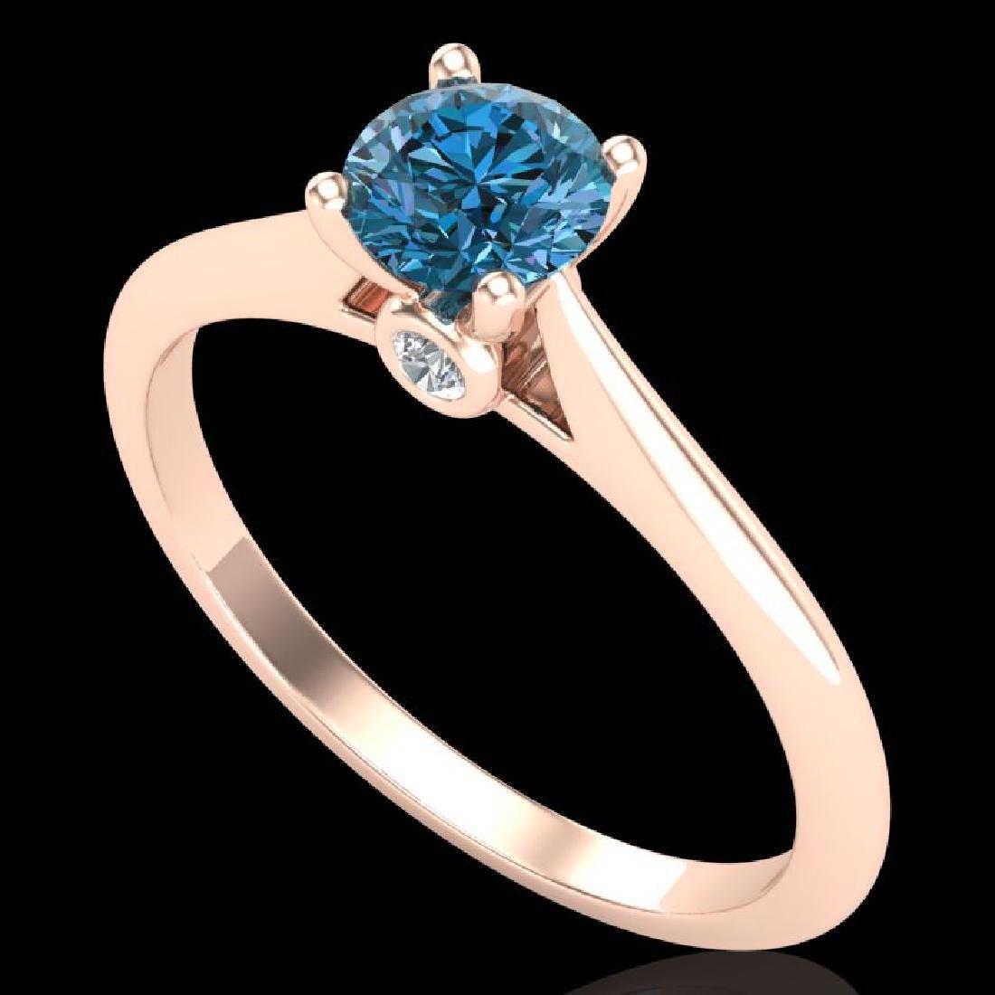 0.56 CTW Fancy Intense Blue Diamond Solitaire Art Deco