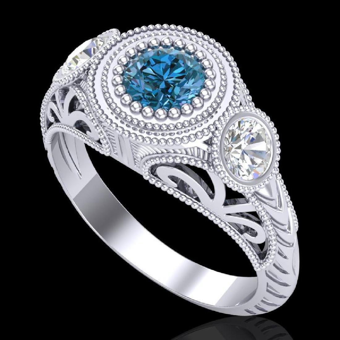 1.06 CTW Fancy Intense Blue Diamond Art Deco 3 Stone